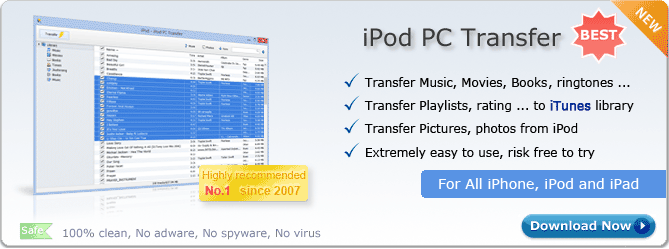 iPod PC Transfer. Copy music from iPod to PC, Copy videos from iPod to computer, Transfer playlists to iTunes, Transfer iPhone to PC